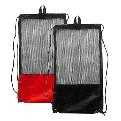 MagiDeal 2 Stücke - Netzbeutel Mesh Bag, Netztasche (48 x 27 cm) schwarz und rot für Erwachsene Tauchen Schnorcheln Schwimmen Ausrüstung Rucksack Aufbewahrungsbeutel Tragetasche Flossentasche
