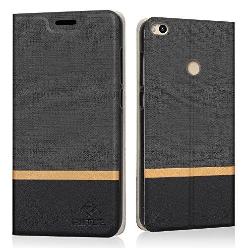 Funda Xiaomi Mi Max 2, Riffue Carcasa PU Delgada de Estilo Vaquero Protectora de Folio Flip Case para Xiaomi Mi Max 2 - Negro