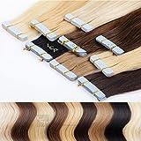 LCP Hairproducts Tape In Extensions Remy Echthaar 50 cm Haarverlängerung 8 Tressen je 4 cm breit, Farbe hellbraun #8