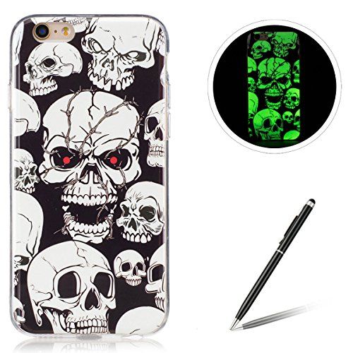 Feeltech for iPhone 6 Plus/6S Plus Luminous Fluoreszierend TPU Hülle-Skull