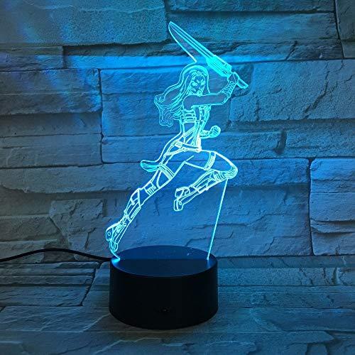 Super Frau Action-figuren 3D LED Licht Dekoration Geschenk Kind Urlaub USB 7 Farben Ändern Lava Lampe Kinder Hobby Geschenk