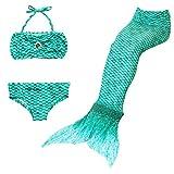 DecStore 3PCS Mädchen Badeanzug Meerjungfrau Schwanz Bademode Bikini-Set Kostüm für Schwimmen(LightSeaGreen 140)