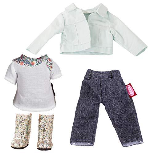 Götz 3403116 Kombination Denim & Glamour - 6-teiliges Bekleidungs-Set für Deine Just-Like-me Puppe - für Stehpuppen XS mit Einer Größe von 27 cm - 6 Teiliges Bekleidungs-set