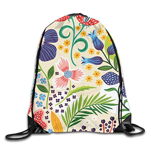 Naiyin Flower Pattern Drawstring Backpack Bag Rucksack Shoulder Sackpack Sport Gym Yoga Runner Beach Hiking Dance -