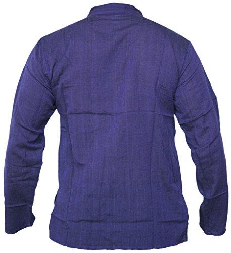 Little Kathmandu Herren Baumwolle Grandad Collarless Festival Sommer Hemden Violett