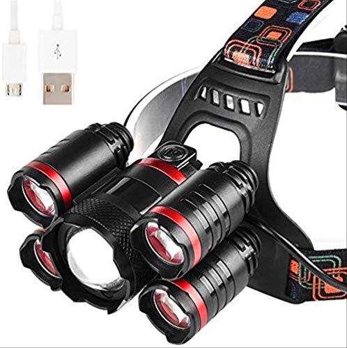 MUTONT Stirnlampe Bright T6 Led wasserdicht wiederaufladbare Scheinwerfer Lumen USB Stirnlampen für Camping Wandern Angeln schwarz