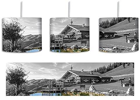 wunderschönes Haus in den Alpen schwarz/weiß inkl. Lampenfassung E27, Lampe mit Motivdruck, tolle Deckenlampe, Hängelampe, Pendelleuchte - Durchmesser 30cm - Dekoration mit Licht ideal für Wohnzimmer, Kinderzimmer, Schlafzimmer
