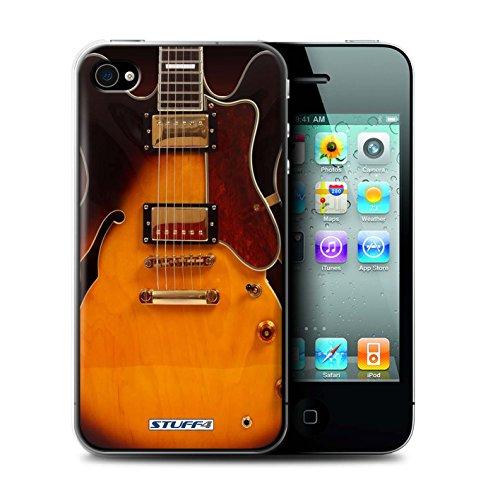 Gedruckt Schutzkoffer Schutzhüllen / Hülle für Apple iPhone 4/4S / Schwarz Electirc Muster / Gitarre Kollektion Semi Akustik