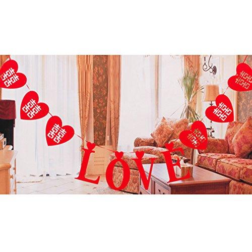 Banner in Herzform Chinesische Traditions Hi Wort Hohl Wimpelkette Banner Verlobungsring Hochzeit Dekoration, Style A (Baby-dusche-hof Dekorationen)