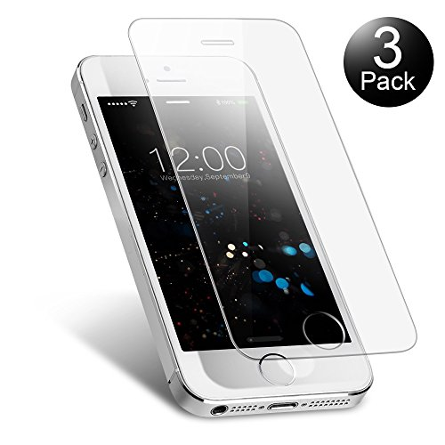 Vontox Verre Trempé iPhone 5 5S Se 5C [Lot de 3], Film Protection en Verre trempé Anti Rayures, sans Bulles d'air, Ultra Résistant Dureté 9H Glass Protecteur d'Écran pour iPhone 5 5S Se 5C