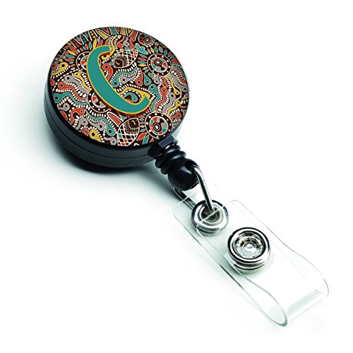 Caroline 's Treasures Buchstabe C Retro Tribal Alphabet Initiale Retractable Badge Reel, multicolor (cj2013-cbr)