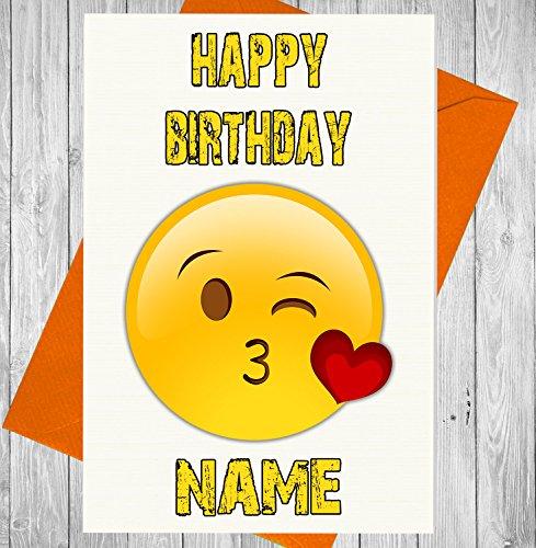Personalisierte Emoji-Love Herz Kiss Geburtstag Karte–Jeder Name und Alter Druck auf der Vorderseite Nerd-geschenk-korb