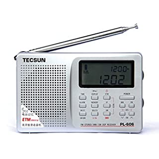 Tecsun PL-606 Digital PLL Portable Radio FM Stereo/LW/SW/MW DSP Shortwave Radio with Alarm Clock and External Antenna Silver (606-S)