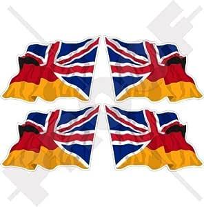 Deutschland Uk Wehende Flagge Deutsch Britische Union Jack Deutschland Vereinigtes Königreich 50mm Auto Motorrad Aufkleber X4 Vinyl Stickers Links Rechts Garten