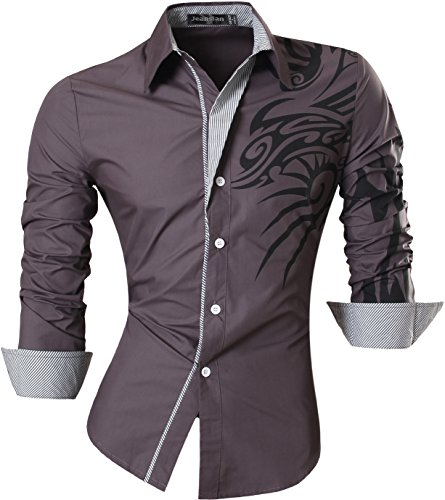 jeansian Homme Chemises Casual Shirt Tops Mode Men Slim Fit Z001 gray