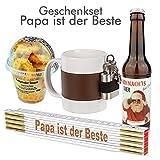 4-TLG. Geschenkset 'Papa ist der Beste' / Echte Kerle/Zollstock / Weihnachtsbier/Becher mit Flachmann/Geschenkidee