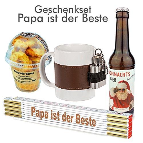 4-TLG. Geschenkset 'Papa ist der Beste' / Echte Kerle/Zollstock/Weihnachtsbier/Becher mit Flachmann/Geschenkidee