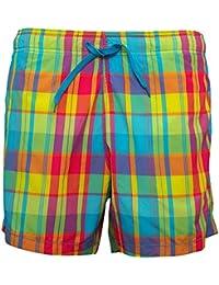 HM Mens Mulitcoloured Check Swim Shorts with Inner Mesh Lining