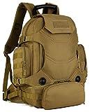 DCCN 40L Sport Duffle Bag Rucksack Tasche 2 in 1 Tactical Rucksack Militär Rucksack taktischer Wanderrucksack mit abnehmbare Bauchtasche mit Regenhülle Braun