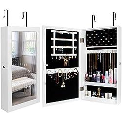 Yorbay Armadietto Portagioie con Specchio, Armadio Portagioielli Appendibile a Muro o alla Porta (Bianco)