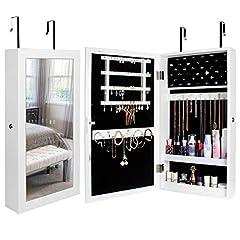 Idea Regalo - Yorbay Armadietto Portagioie con Specchio, Armadio Portagioielli Appendibile a Muro o alla Porta (Bianco)