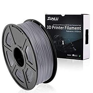 SUNLU PLA Plus filament, 1.75mm 3D Printing Filament Low Odor, Dimensional Accuracy +/- 0.02 mm, 2.2 LBS (1KG) Spool 3D Filament,Grey PLA+