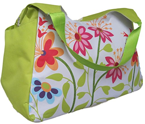 large-beach-bag-green-with-pink-flowers-h33xw51xd23cm-with-useful-deep-side-pockets-and-internal-pur