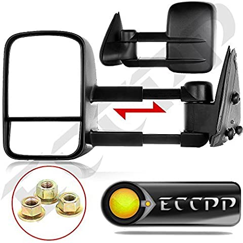 ECCPP Black Manual Telescoping Tow Towing Mirrors Side View Mirror