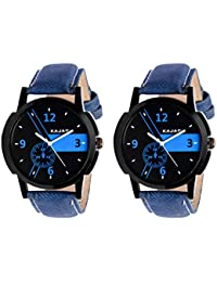 Kajaru KJR-6,6 Round Black And Blue Dial Analog Watch Combo For Men (Pack Of 2)