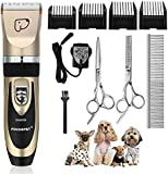 Pet Grooming Clippers, Focuspet Rechargeable Cordless Dog Grooming Clippers Kit Low Noise Electric Hair Trimming Clippers Set For Small Medium Large Dogs Cats Other Animals (Gold&Black) Gold UK