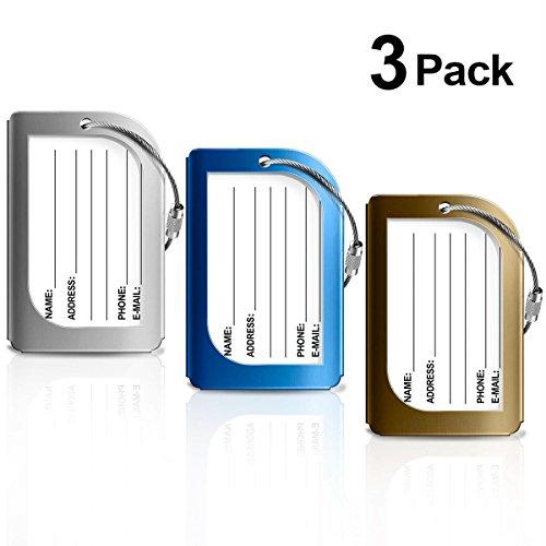 Kofferanhänger 3 Farben,PAMIYO Aluminium Gepäckanhänger Metallgepäckanhänger Gepäckgepäcklizenzierung Flugzeug Gepäckanhänger aus Metall, Tags mit Namensschild Adressschild