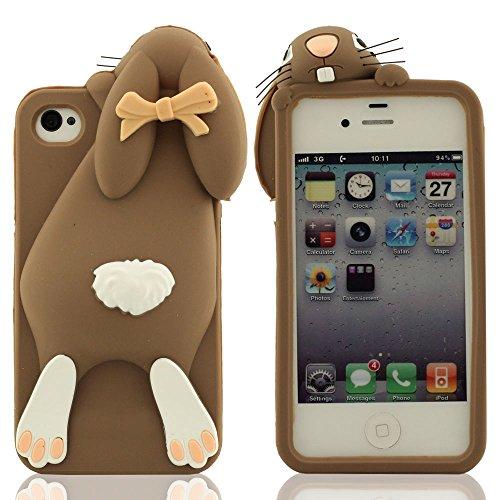 Schutzhülle iPhone 4 4S 4G Hülle, Besondere Niedlich Kaninchen Aussehen Entwurf, iPhone 4 4S Case, Weich Silikon Handy Tasche Prämie Schutz Slap-up Estilo Soft touch Anti-Shock Braun