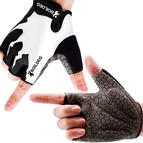 boildeg Guantes de Ciclismo de Bicicleta Guantes de Bicicleta de Carretera de Medio-Dedo para Hombres Mujeres Acolchado Antideslizante Transpirable (Blanco, L)