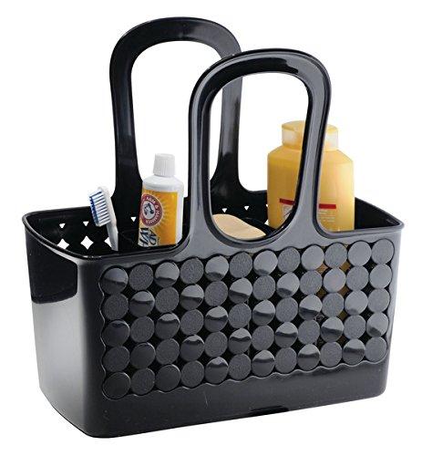 mDesign Cesta para ducha – Organizador de ducha con 9 compartimentos para productos de higiene personal – Caja organizadora pequeña – Color: negro