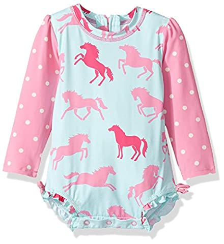 Hatley Baby Girls' Rash Guard Swim Shirt, Blue (Ponies/Polka Dots), 6-9 Months