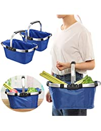 Luvina Reusable Foldable Bags Waterproof Eco-Friendly Shopping Grocery Picnic Hand Basket-43 * 28 * 23cm(Multi...