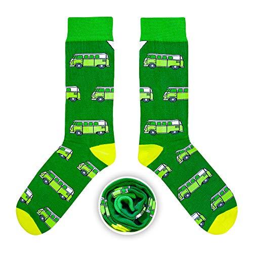 CUP OF SOX Baumwolle Lustige Socken in der Pappbecher - Perfekt als Geschenk für Männer und Frauen - Bulli/Bus/Samba (Grün, 41-44)