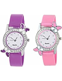 Maan International Pink & Purple New Butterfly Designer Analogue Girl's & Women's Watch BF-PP0910