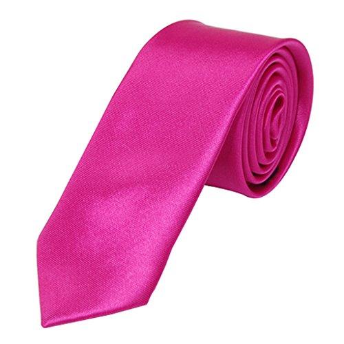Unisex Freizeit Krawatte Skinny Schmale Krawatte - Solid Shocking Pink