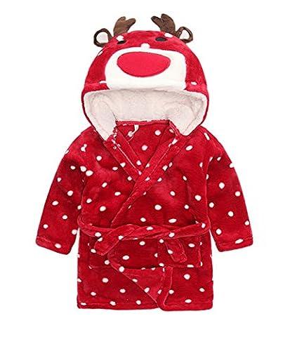 Peignoir à Capuche Enfant en Flanelle Manches Longues Serviette de Bain Doux Sortie de Bain Animaux Robe de Chambre Cartoon Animal Motif Nightgown Pyjama pour Filles Garçon Bébé 1-12 ans - KEYSHINE
