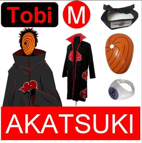 Naruto Cosplay Set für Tobi - Akatsuki Mantel (M) + Narudo Tobi Maske (gelb) + Tobi (Uchiha Madara) ring + Tobi Uchiha Itachi (Akatsuki Tobi Kostüm)