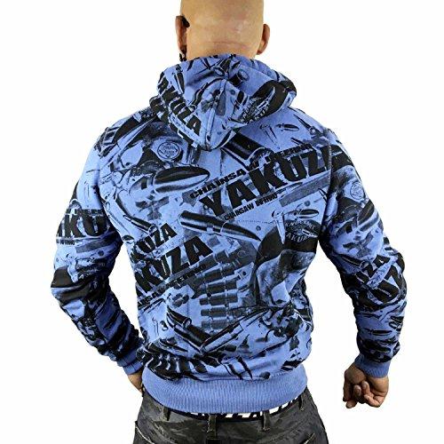 Yakuza Original Herren Gunner Allover Hoodie Kapuzenpullover cendre blue
