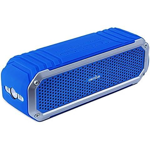 Altavoz Bluetooth Estéreo 10W Premium Dual-Drivers, con Radiador Pasivo, COMISO Altavoz Portatíl Inalámbrico 15 horas para HuaWei, XiaoMi, Samsung, Nexus, HTC, iPhone y iPad - (Azul