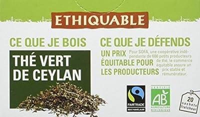 Ethiquable Thé Vert de Ceylan Bio et Équitable 20 Sachets Max Havelaar - Lot de 4