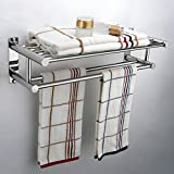 Popamazing Stainless Steel Plated Wall Mounted Bathroom Towel Double Shelf Storage Rail Holder Rack