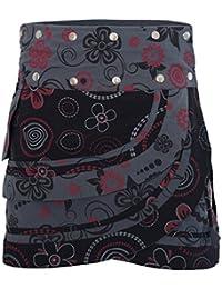 c45b9867b89155 PUREWONDER Damen Wickelrock Baumwolle Rock mit Tasche sk182