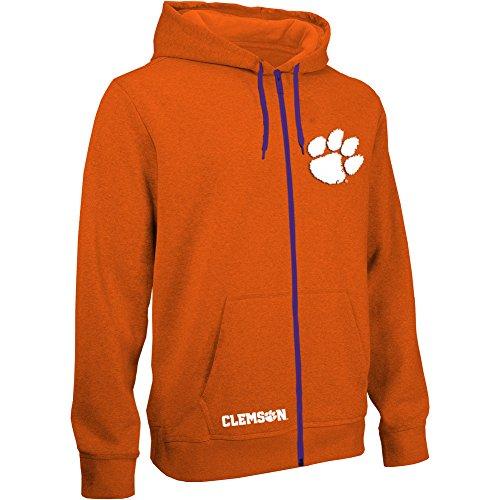 eLITe NCAA Herren Kapuzenpullover mit Reißverschluss, Teamapplikation, Herren, Zip Up Hoodie Sweatshirt Team Applique Icon, Clemson Tigers Orange, Small