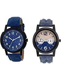The Shopoholic Combo Latest Fashionable Blue Dial Analog Watch For Boys Leather Belt Watch For Men's-Combo Watch