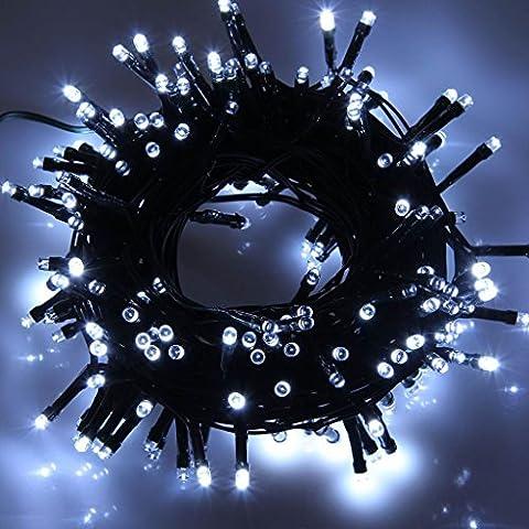 AOFENG Solar Lichterkette 22m LED KaltWeiß Solarlichterkette Wasserdicht Außenlichterkette Weihnachtsbeleuchtung für Hochzeit, Party, Garten (22m, KaltWeiß)