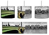 Skyline von London mit Themse und Big Ben schwarz/weiß inkl. Lampenfassung E27, Lampe mit Motivdruck, tolle Deckenlampe, Hängelampe, Pendelleuchte - Durchmesser 30cm - Dekoration mit Licht ideal für Wohnzimmer, Kinderzimmer, Schlafzimmer